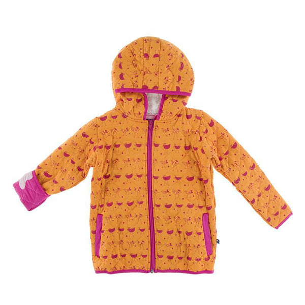 Quilted Jacket - Apricot Chickens with Calypso Eggs
