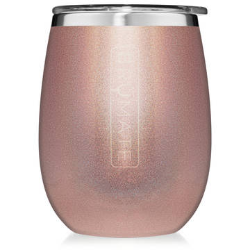 Drinkware - Insulated Wine Glass Glitter Rose Gold