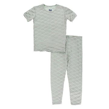 2 Piece Pajama Set (Short Sleeve) - Iridescent Mermaid Scales