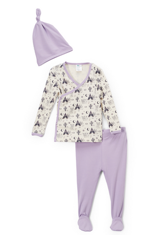 Kimono Set with Footie Pants and Hat - Lavender Origami Fox