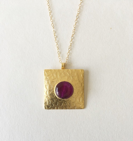 Gold Square Pendant - Turklyn Pazaar - 1