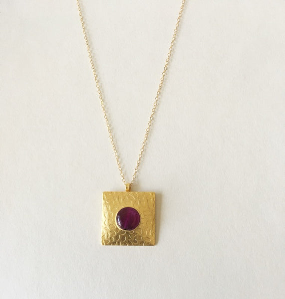 Gold Square Pendant - Turklyn Pazaar - 2