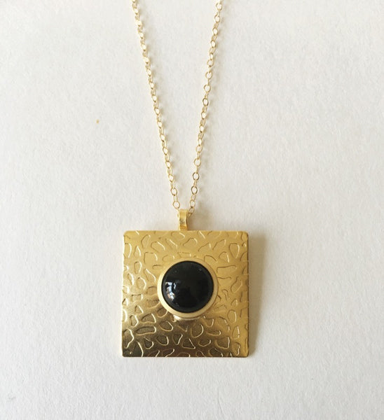 Gold Square Pendant - Turklyn Pazaar - 3