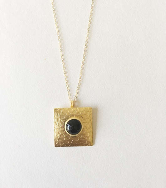Gold Square Pendant - Turklyn Pazaar - 4
