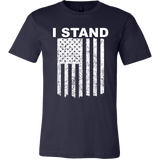 I Stand American Flag Shirt - Thin Line Style