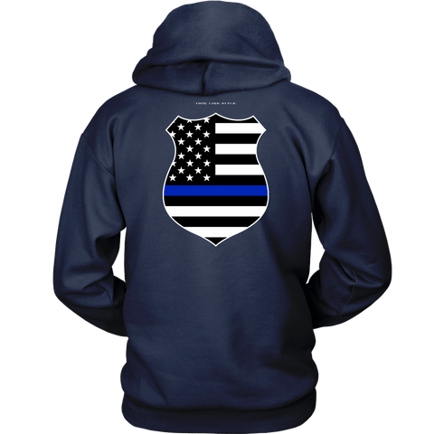 Law Enforcement Shield Thin Blue Line Hoodie - Thin Line Style