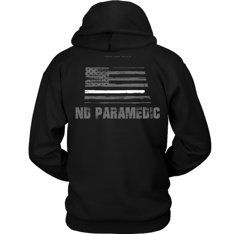 North Dakota Paramedic Thin White Line Hoodie - Thin Line Style