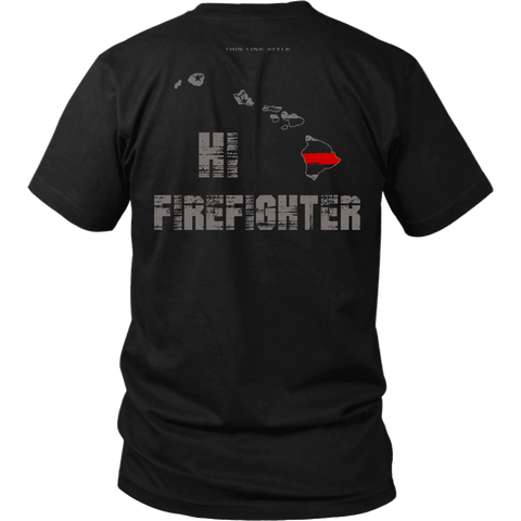 Hawaii Firefighter Thin Red Line Shirt - Thin Line Style