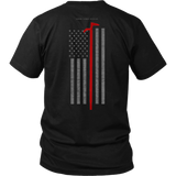 Roof Hook Firefighter USA Flag Shirt - Thin Line Style