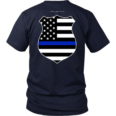 Law Enforcement Shield Thin Blue Line Shirt - Thin Line Style