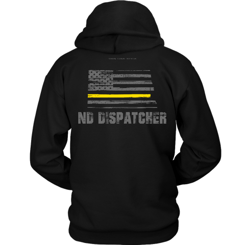 North Dakota Dispatcher Thin Gold Line Hoodie - Thin Line Style