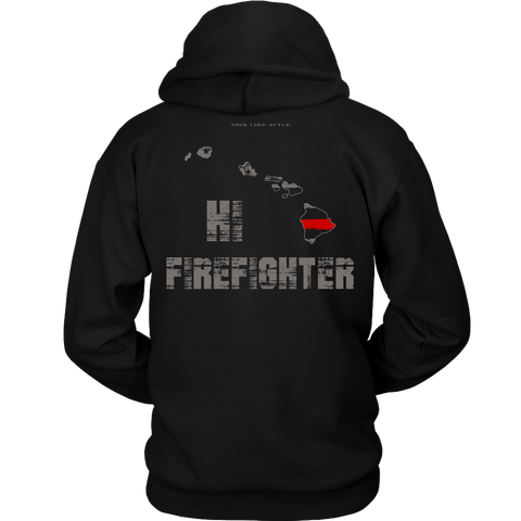 Hawaii Firefighter Thin Red Line Hoodie - Thin Line Style