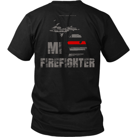 Michigan Firefighter Thin Red Line Shirt - Thin Line Style