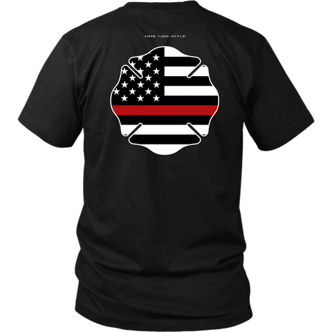 Maltese Cross Firefighter Thin Red Line Shirt - Thin Line Style