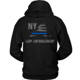 New York Law Enforcement Thin Blue Line Hoodie - Thin Line Style