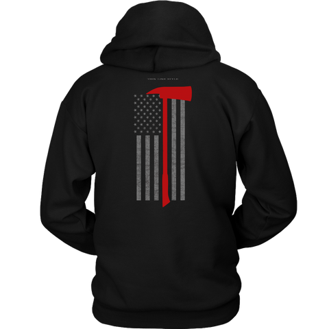 Pick Head Axe Firefighter USA Flag Hoodie - Thin Line Style