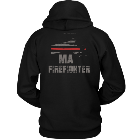 Massachusetts Firefighter Thin Red Line Hoodie - Thin Line Style