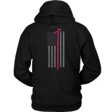 Pink Roof Hook Firefighter USA Flag Hoodie - Thin Line Style
