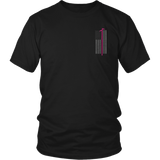 Pink Roof Hook Firefighter USA Flag Shirt - Thin Line Style