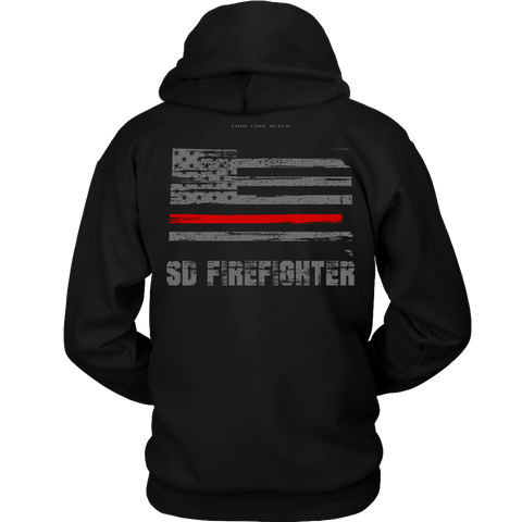 South Dakota Firefighter Thin Red Line Hoodie - Thin Line Style