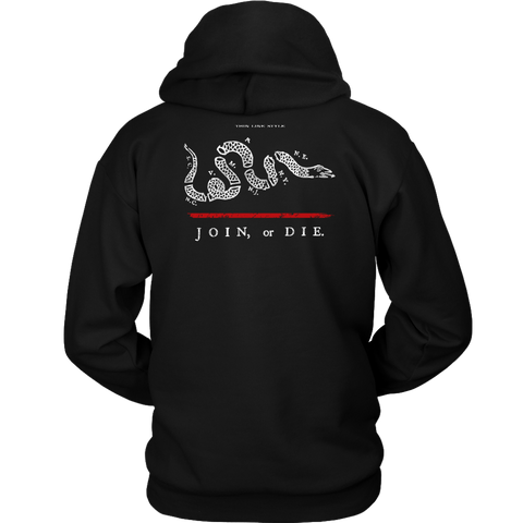 Join or Die Thin Red Line Firefighter Hoodie - Thin Line Style