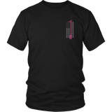 Pink Halligan Tool Firefighter USA Flag Shirt - Thin Line Style