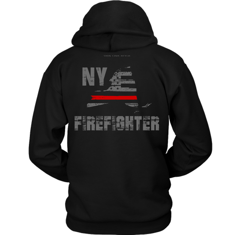 New York Firefighter Thin Red Line Hoodie - Thin Line Style