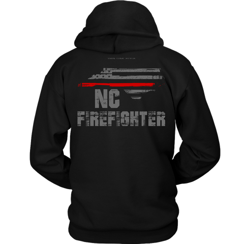 North Carolina Firefighter Thin Red Line Hoodie - Thin Line Style