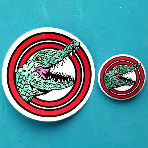 Bulleseye Alligator Sticker and Pin