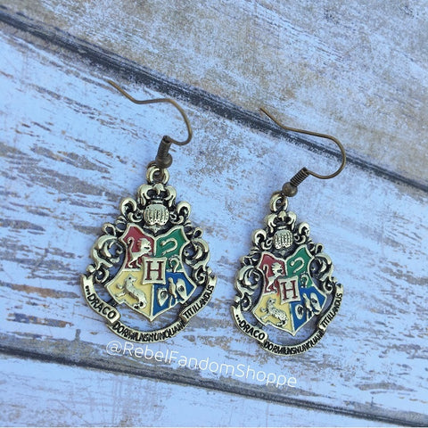 House Earrings-School Crest