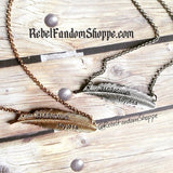 Floating Feather Necklace - Silver