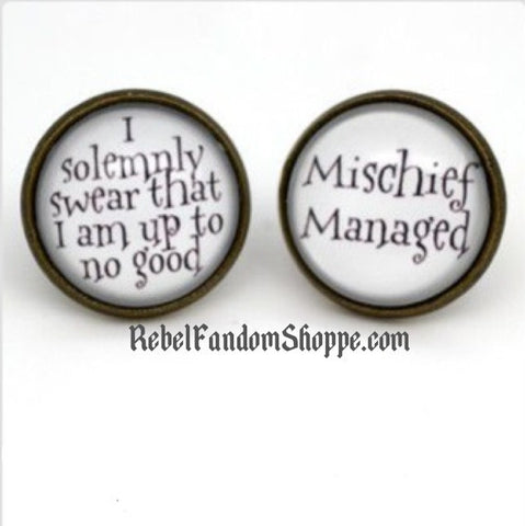 Solemnly Swear & Mischief Managed Stud Earrings
