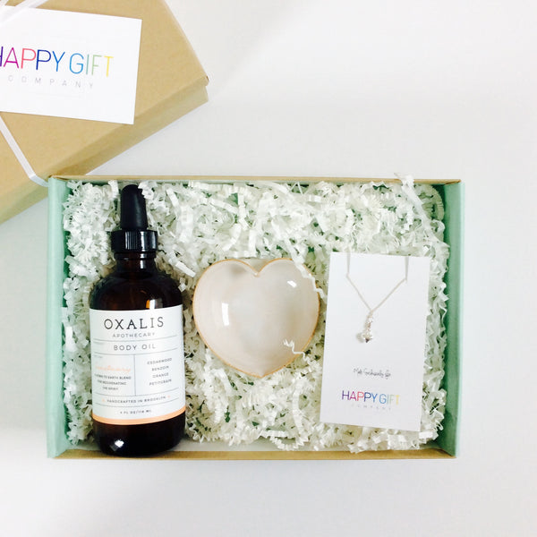 Curated Gift Box for Her with heart jewelry dish, heart necklace and body oil