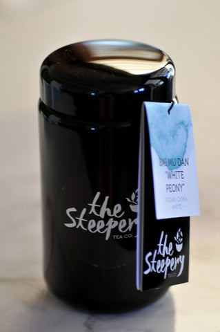 The Steepery Tea Co. - Black glass canister