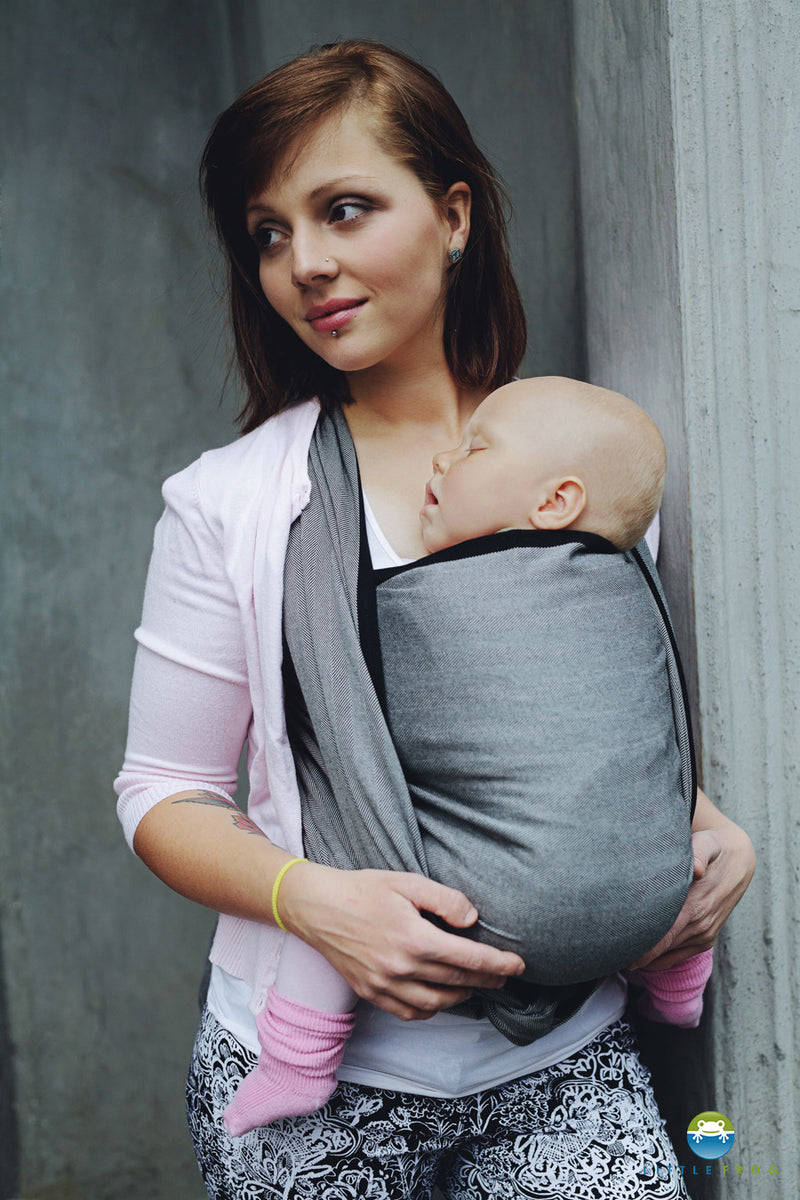 Little Frog Graphite herringbone woven wrap - Hug and Cuddles