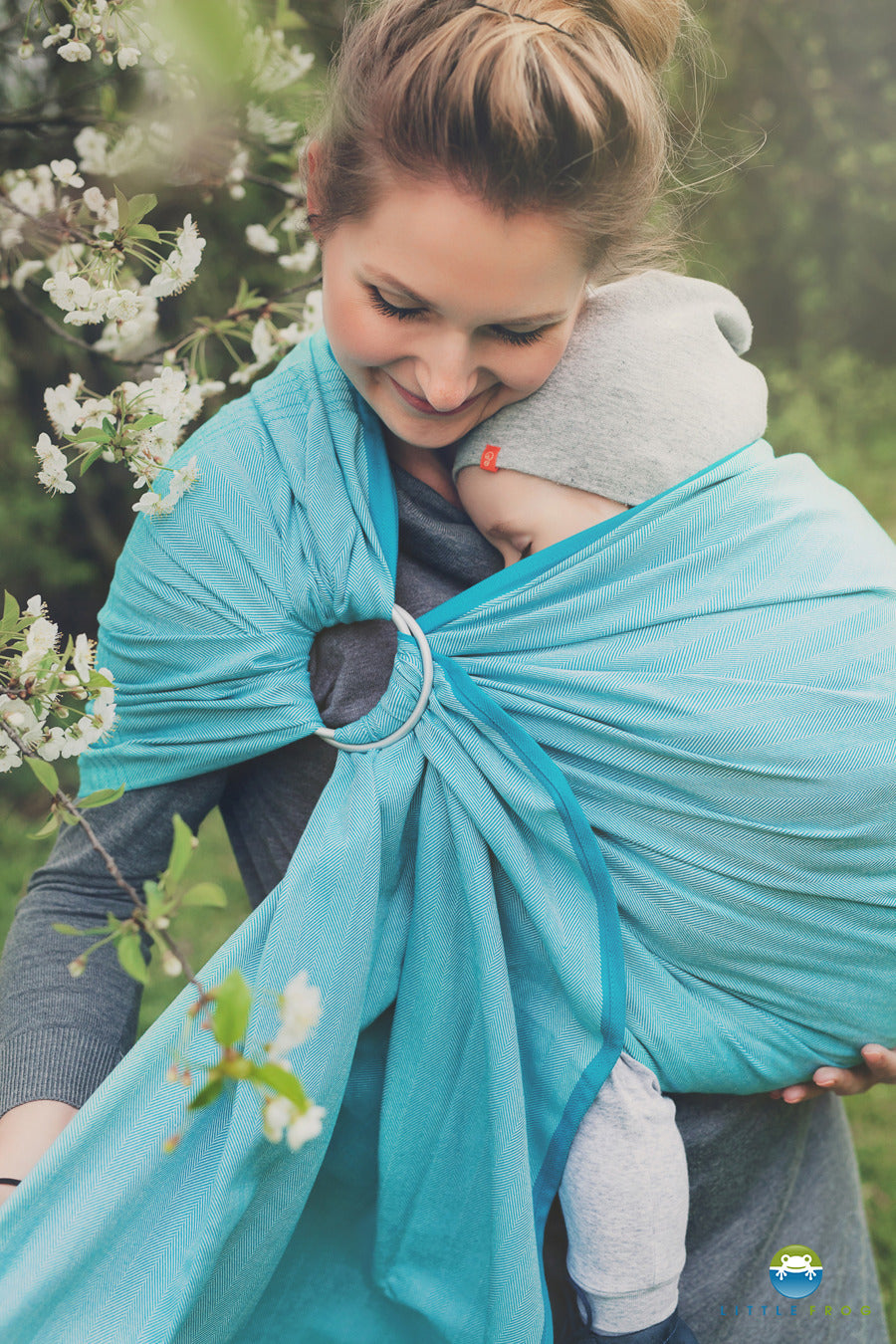 Little Frog Turquoise Herringbone Ring Sling - Hug and Cuddles