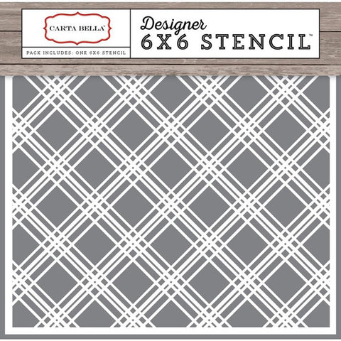 Carta Bella Plaid Stencil 6x6 - The Heart Desires