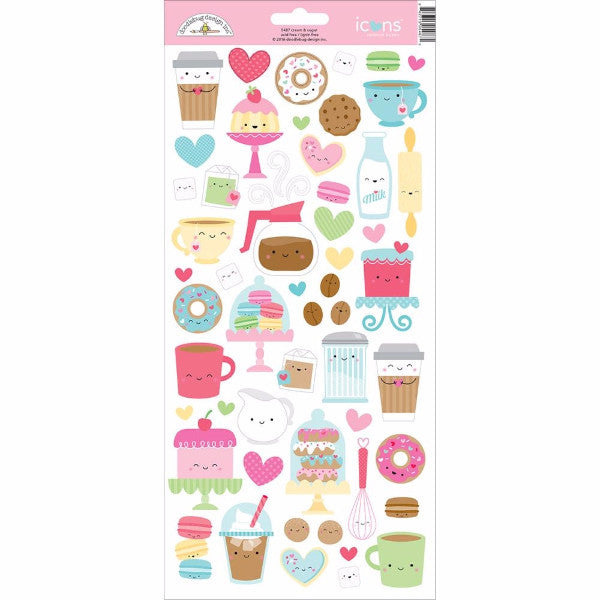 Doodlebug Cream and Sugar Icons Cardstock Stickers - The Heart Desires