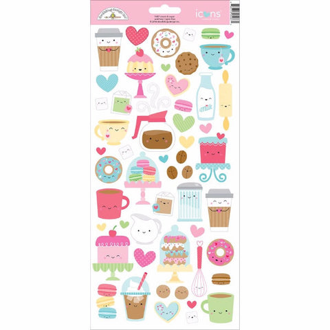 Doodlebug Cream and Sugar Icons Cardstock Stickers