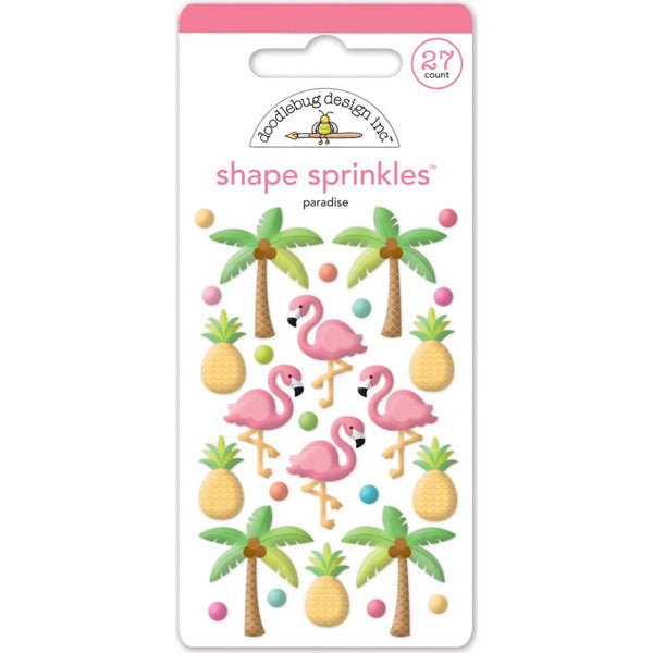 Doodlebug Tropical Shape Sprinkles Epoxy Stickers - The Heart Desires