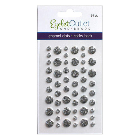 Eyelet Outlet Glitter Silver Enamel Dots - The Heart Desires