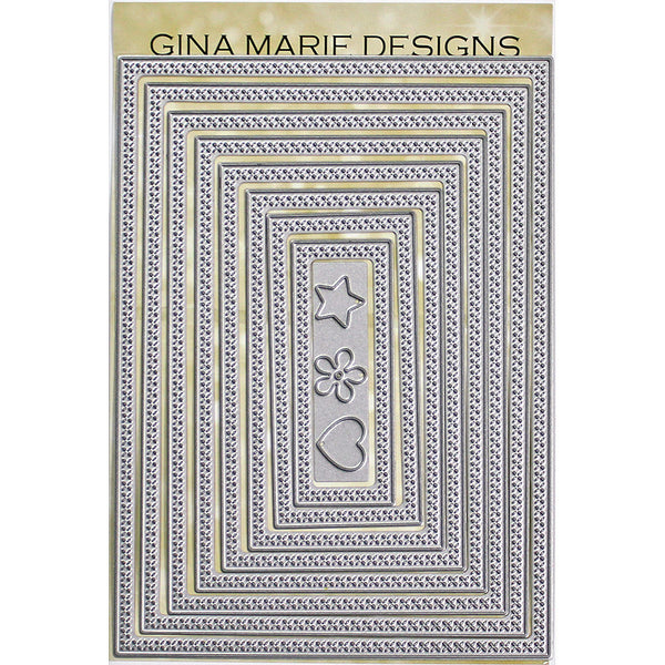 X STITCHED RECTANGLES DIES - GINA MARIE DESIGNS - The Heart Desires