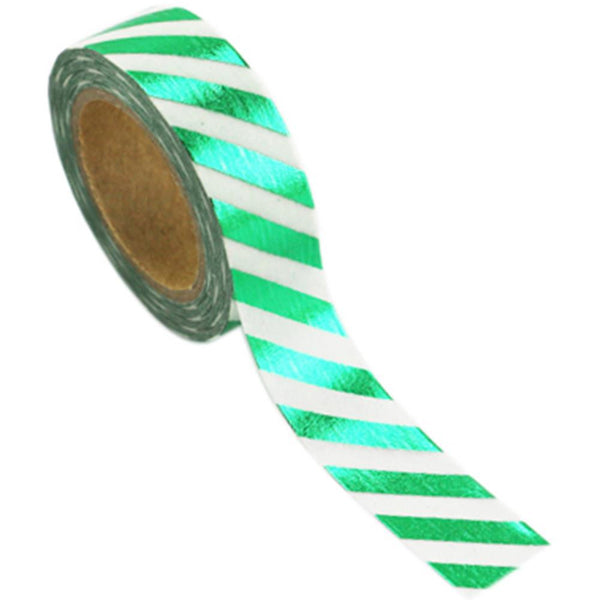 Love My Tapes Green Stripe Foil Washi Tape - The Heart Desires