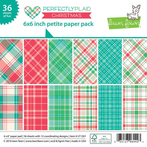 Lawn Fawn PERFECTLY PLAID CHRISTMAS Petite 6x6 Paper Pack - The Heart Desires