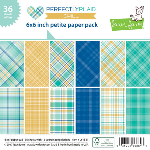 Lawn Fawn Perfectly Plaid Chill Petite 6x6 Paper Pack - The Heart Desires