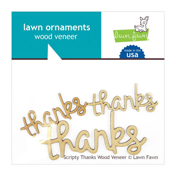 Lawn Fawn Scripty Thanks Wood Veneer