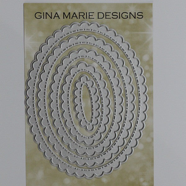 SCALLOPED STITCHED NESTED OVAL DIES - GINA MARIE DESIGNS