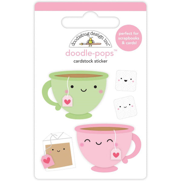 Doodlebug Cream and Sugar Tea for Two Doodle Pops 3D Stickers - The Heart Desires