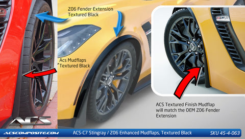 C7 Z06 Splash Guards - mudflaps textured black