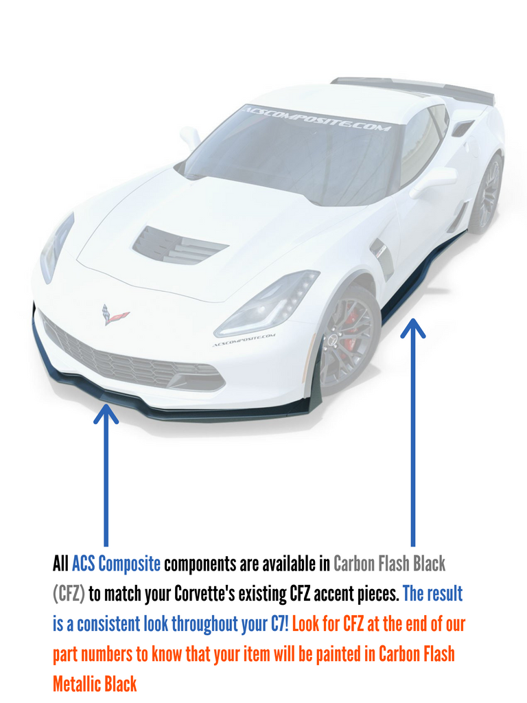 ACS Composite paints all parts in the C7 Corvette Carbon Flash Metallic Black